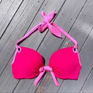 VS neon pink bow tie padded push-up bikini top 34C